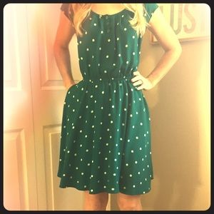 """Lauren Conrad"" Green and White Polka dot dress"